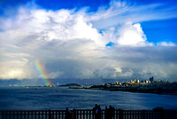 The View - San Francisco, Bay Bridge, treasure island and some of oakland on far end. A rainbow and those clouds. Now that is a view to enjoy.